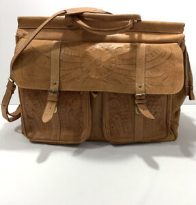 Paraguay Leather Handmade Tooled Weekend Bag Travel Satchel Large 20 x 10 x 14