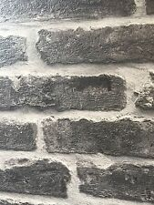 3 D BRICK EFFECT, CHARCOAL COLOURED TEXTURED HEAVY WEIGHT VINYL (FAST DELIVERY)