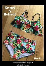 Ladies Bikini Swimwear, Size 14, High Waisted, Tropical Print, Ruffle Top