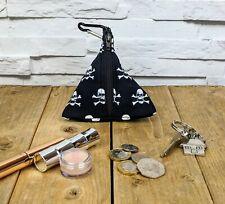 Handmade Black Skull pouch bag coin purse, key purse, small make up purse.