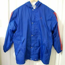 VTG Adidas Blue Nylon Lined Hooded Orange 3 Stripe Full Zip Jacket Mens XXL F10