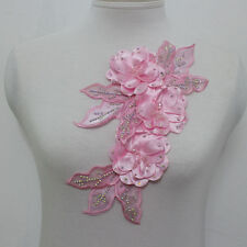1Pcs Leaves Flowers Chiffon AB Crystal Beaded Lace Applique Motif Pink Sew On