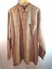 Sean John Shirt Size XXL Button Front Long Sleeve Brown Lt. Orange Print Shirt
