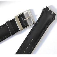 19mm(23mm) correa de Reloj de piel negra, por CHRONO, SWATCH reloj,Acero Hebilla