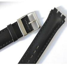 19mm(23mm) BLACK Leather Watch Strap, For CHRONO, SWATCH Watch,Steel Buckle