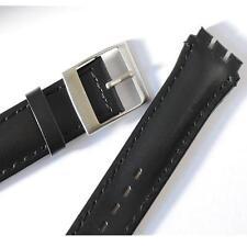 19 mm (23 mm) Nero Cinturino in pelle, per Chrono, Swatch Watch, fibbia in acciaio