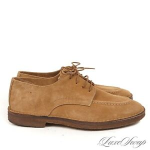 #1 MENSWEAR Drakes Made in Italy Camel Suede Unlined Derby Desert Shoes 11 NR