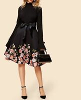 Long Sleeve Stand Collar Belted Fit and Flare A Line Floral Print Dress Casual