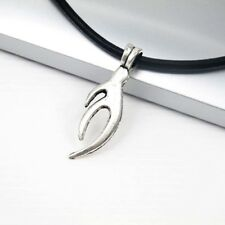 Vintage Silver Alloy Tribal Pendant Womens Mens Black Leather Surfer Necklace
