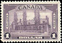 1938 Mint Canada F-VF Scott #245 $1.00 Pictorial Issue Stamp Hinged
