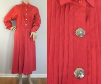 Vintage 1980s Dress Panhandle Red Cotton Southwestern Cowgirl Midi Full Skirt