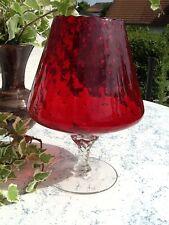 VINTAGE Cognac SCHWENKER Windlicht 25 cm Ø 20 cm Überfang GLAS Kristall 70er