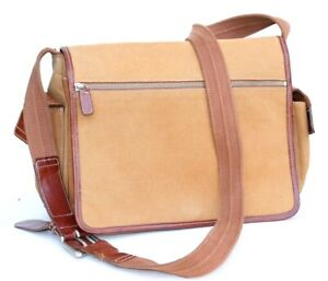 Fossil Tan Brown Canvas Leather Trim Messenger Shoulder Bag Medium Size