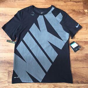 Nike Dri-Fit Cotton Running Gym T-Shirt New Tags Men's Top Black Logo Medium 2K