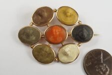 Cameo Days Of The Week Brooch c1820 Antique 14K Gold Carved Lava & Coral