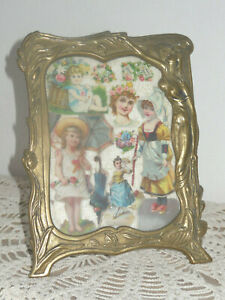 ANTIQUE FRENCH BRASS FRAME - COLLAGE on LACE - MEMORY of YOUNG LADY LIFE 19th c.