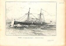 Espagne Croiseur de la Marine de Guerre Reina-Regente Dessin  1895 ILLUSTRATION