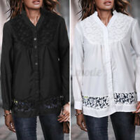 Size Womens Ladies Button V Neck Shirt Long Sleeve Casual Baggy Lace Blouse Tops