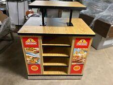 Rolling Wood 2 Tier Store Fixture Display Walk Around Food Product Merchandiser