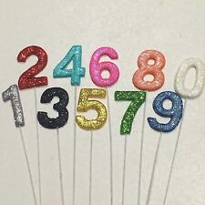 Edible Numbers Wilth Glitter On Wire Cake Toppers Choose Your Own Colour