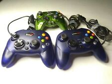 Lot of 3 XBOX Controllers 2 Gamestop BB-136 Translucant Blue and an Intec Green