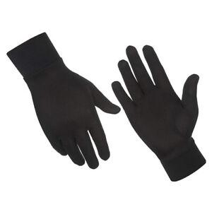 Silk Liner Gloves Thin Lycra Thermal Ski Inner Walking Cycling Motorbike - Black