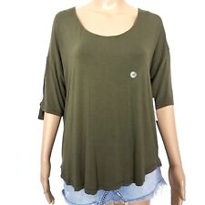 New York and Company Stretch Medium Olive Short Sleeve Top NWT