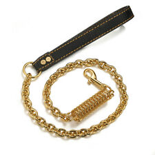 2ft Large Pet Dog Leash Gold Stainless Steel Curb Chain with Damping Spring