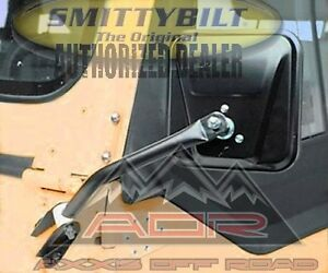 Smittybilt 7617 Side Mirror Pair Black No Drill Installation Fits 55-86 Jeep CJ