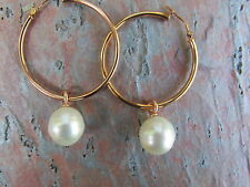 14 KT Rose Gold & Paspaley South Sea Pearl Add to Hoop Earring Charms...NEW