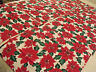 "Set 6 Poinsettia Christmas Holiday Dinner Napkins 21""x21"" Red Green White Floral"