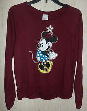 NWT WOMENS Disney Minnie Mouse LONG SLEEVE BURGUNDY KNIT TOP   SIZE XS