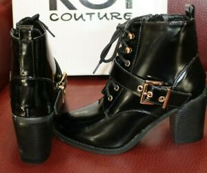 Koi Couture Black High Shine Ladies Boots With Laces Gold Buckle Brand New