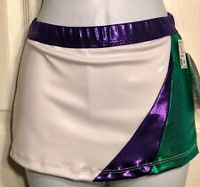 Gk Cheer Adult Small Low Rise White Mystique Skirt/Shorts Purple Green Foil As