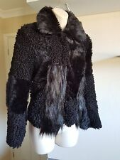 Bnwt TopShop Black Faux Mongolian Fur/Hair Panel Cropped Jacket UK Size 6-8