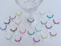 20 Mixed Colour Pearl Wine Glass Charms Christening,Favours,wedding