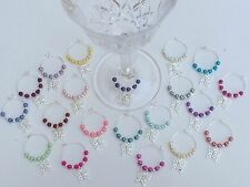 20 Butterfly & Mixed Colour Pearls Wine Glass Charms. Wedding,Christening,Party