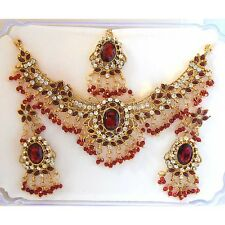 Red Colour Ethinic Indian Traditional Fashion Jewellery Set PS463