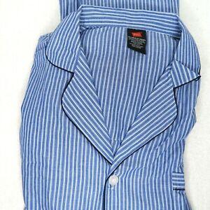 Hanes Mens 2-Piece Blue Striped Woven Sleepwear Pajama Set Sleep Set 2XL