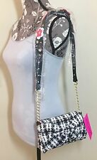 NWT Betsey Johnson Blk Multi Tweed Shoulder Bag Floral Bow Houndstooth Purse $78
