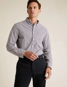 M&S Marks Spencer Men Regular Fit Pure Cotton Gingham Check Shirt Red/Navy BNWT
