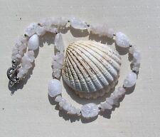 """Pale Rose Quartz & Crackled Clear Quartz Crystal Gemstone Necklace """"Rose Blush """""""