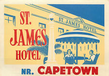 St. James Hotel ~CAPETOWN - SOUTH AFRICA~ Great Old ART DECO Luggage Label, 1950