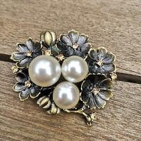 5x4cm Große Clayre&Eef Anstecknadel Brosche Perlen Vintage Messing Blüten Baum