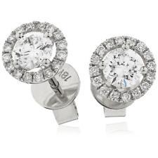 1.20ct F VS Diamond Halo Earrings Pierced Ears Brilliant Cut in 18ct White Gold