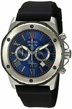 Bulova Men's Marine Star Chronograph Blue Multi Dial Silicone 44mm Watch 98B258