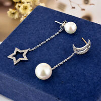 Elegant 925 Sterling Silver Moon Star Pearl Drop Dangle Stud Earrings Asymmetric