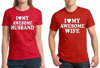 Couple T Shirt I Love My Awesome  Wife & Husband Valentine's Day Gift For Her R