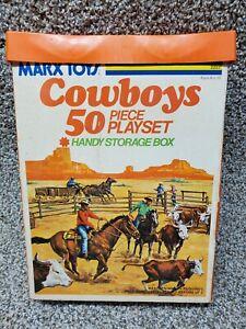 Marx Cowboys Play Set, Longhorn Steers, horses ranching vintage toy