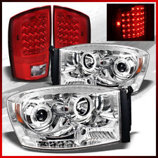 Fits 07-08 Ram Chrome Projector Headlights + Red Clear LED Tail Lights Pair